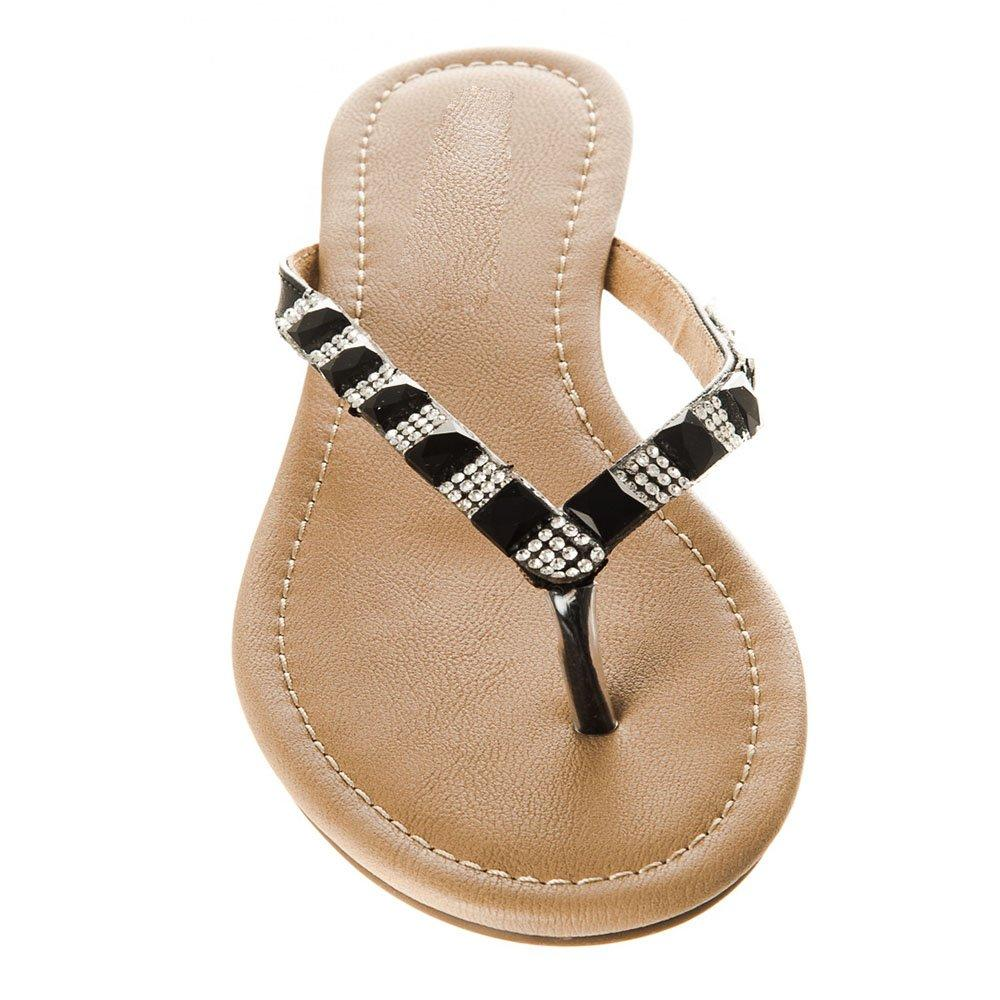 Flat Toe-Post Diamante Sandal