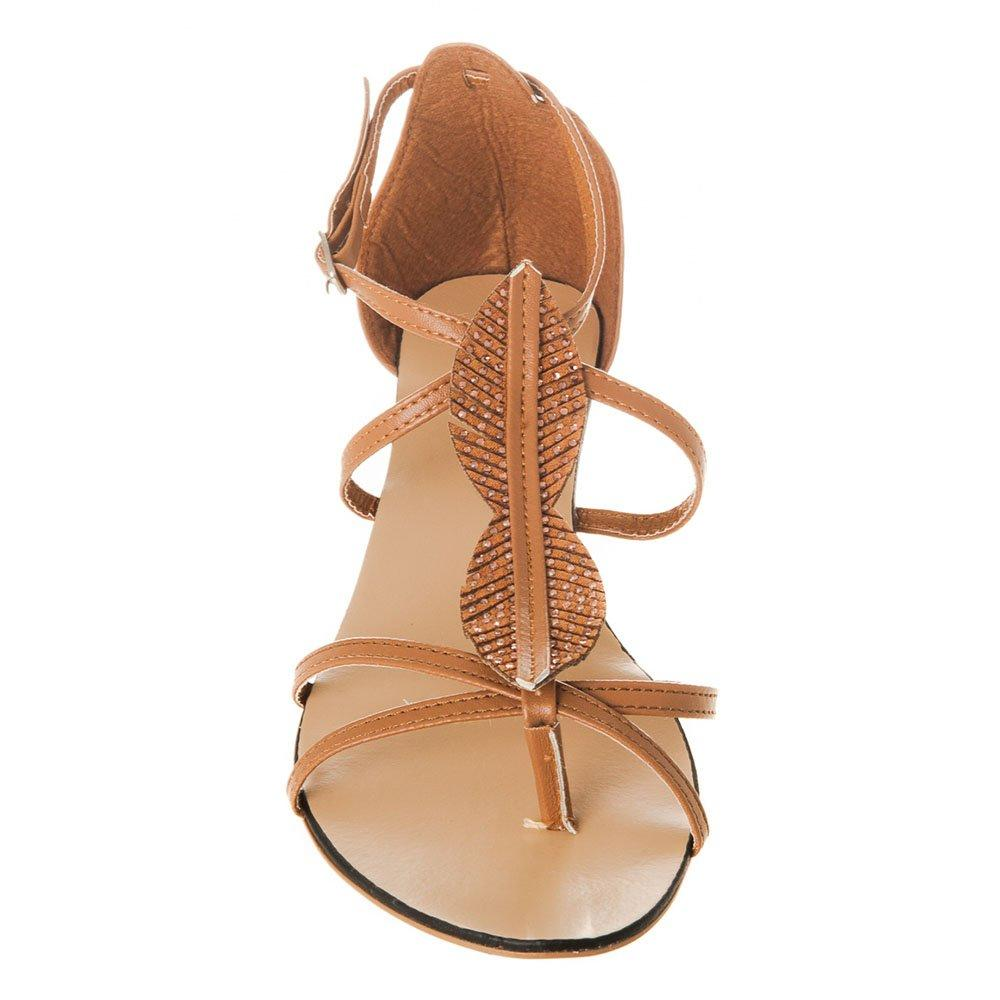 Flat Wedge Ankle Strap Toe-Post Sandal With Leaf design