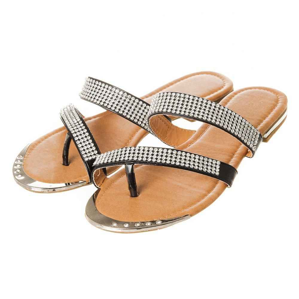 Flat Slip-On Diamante Toe-Post Sandal