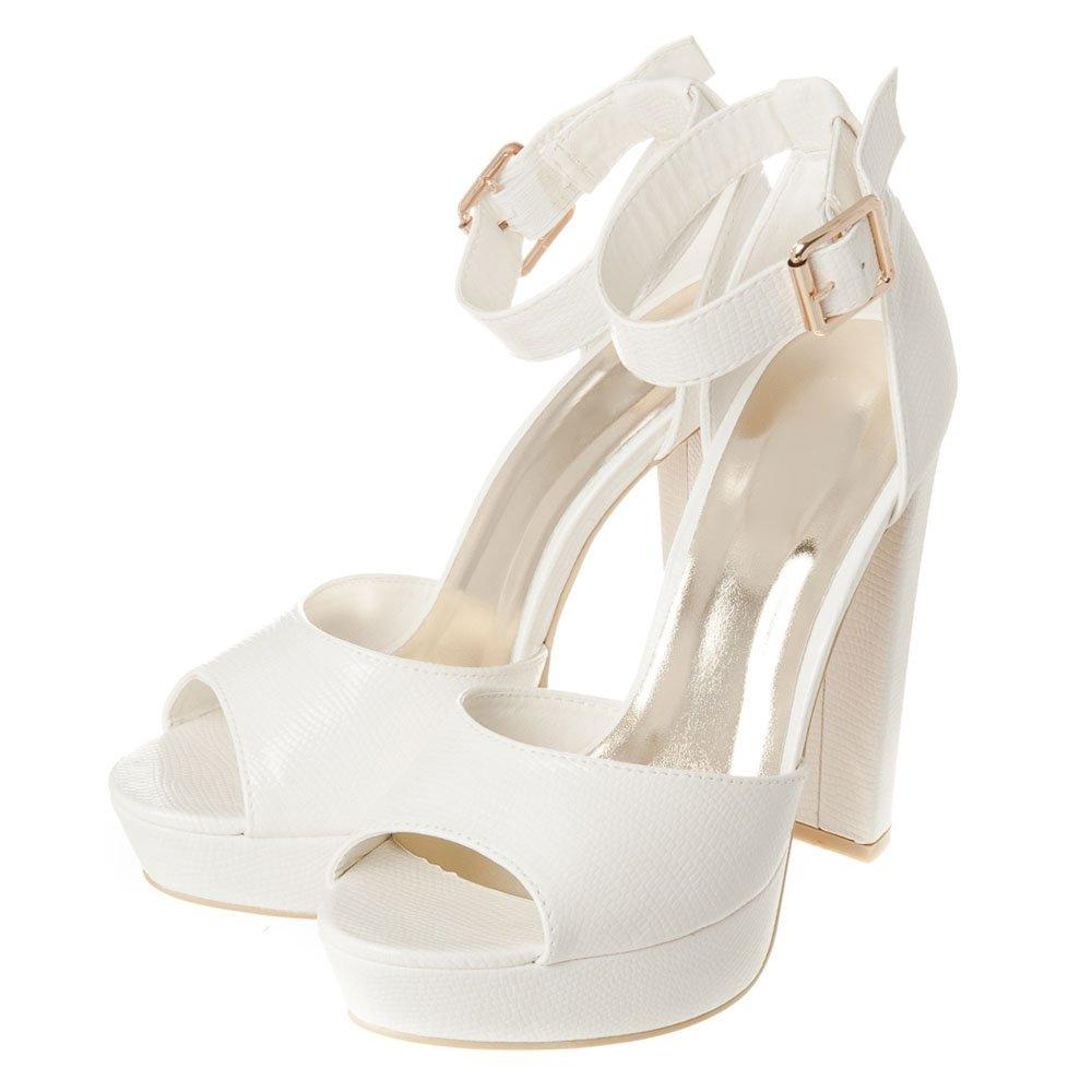 High Block Heel Open Toe Ankle Strap Sandal