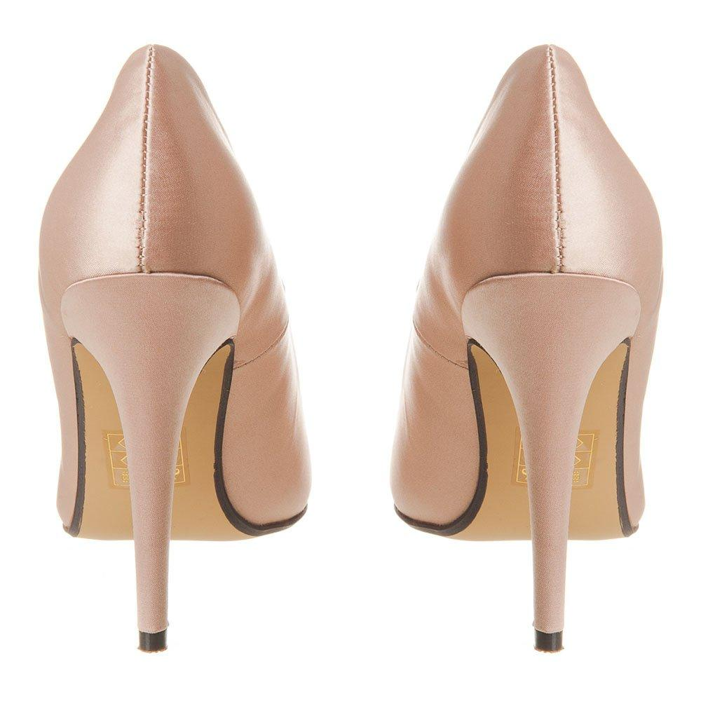 High Stiletto Heel Pointed-Toe Satin Court Shoe