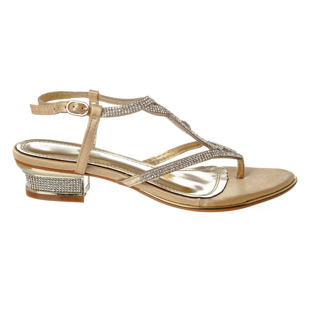 Low Block Heel Toe Post  Diamante Sling Back Sandal
