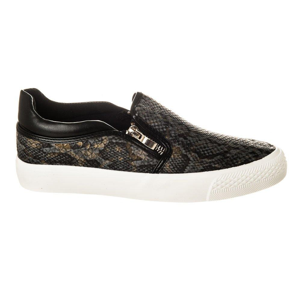 Flat Lizard Print Skater Shoe With White Rubber Sole