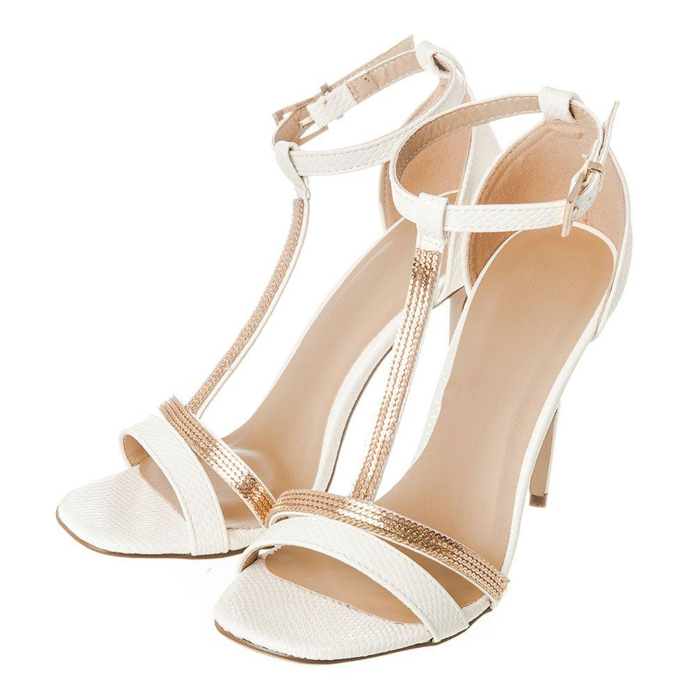 High Stiletto Heel Ankle strap T- Bar Sandal