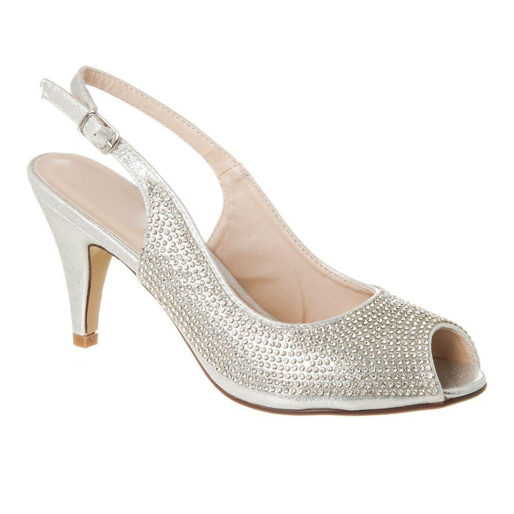 Medium Heel Open Toe Sling Back Diamante Sandal