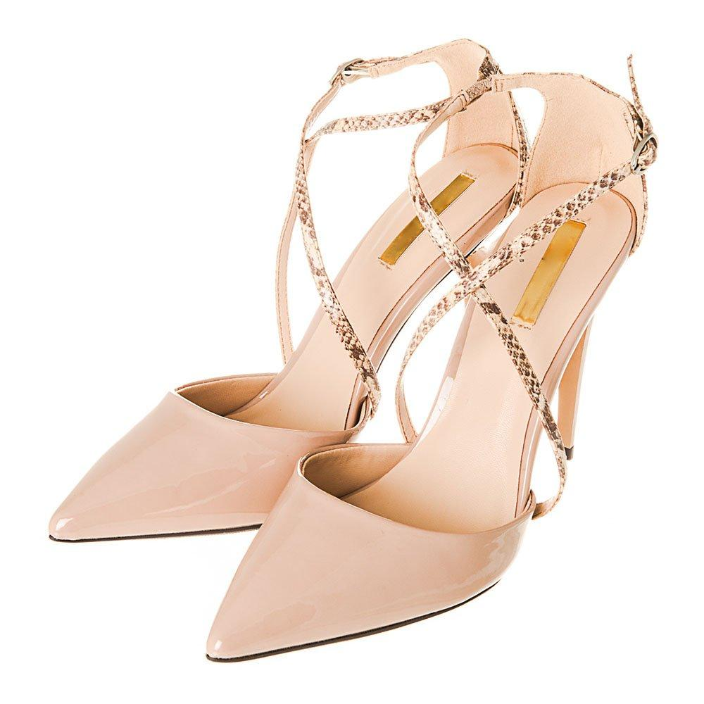 High Stiletto Heel Pointed Toe Court Shoe With Cross Over Straps
