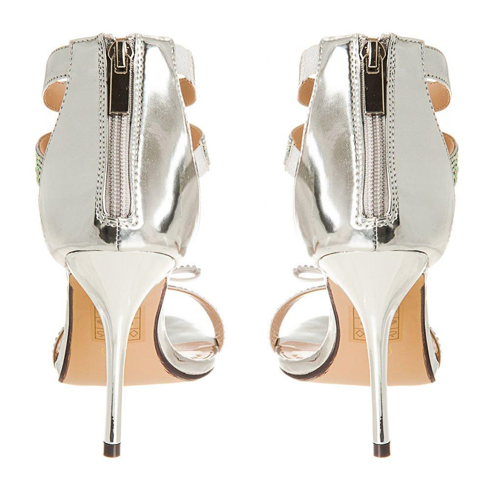 High Stiletto Heel Open Toe T-Bar Sandal With Bow Detail.