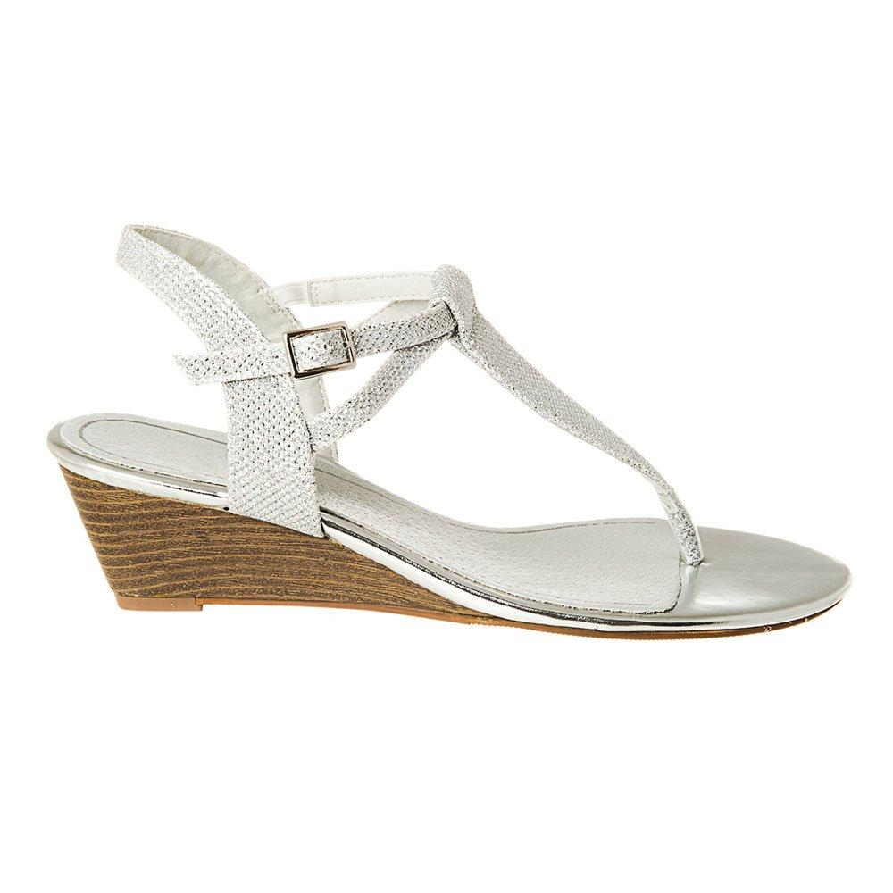 Low Heel Wedge Toe-Post Ankle Strap Sandal