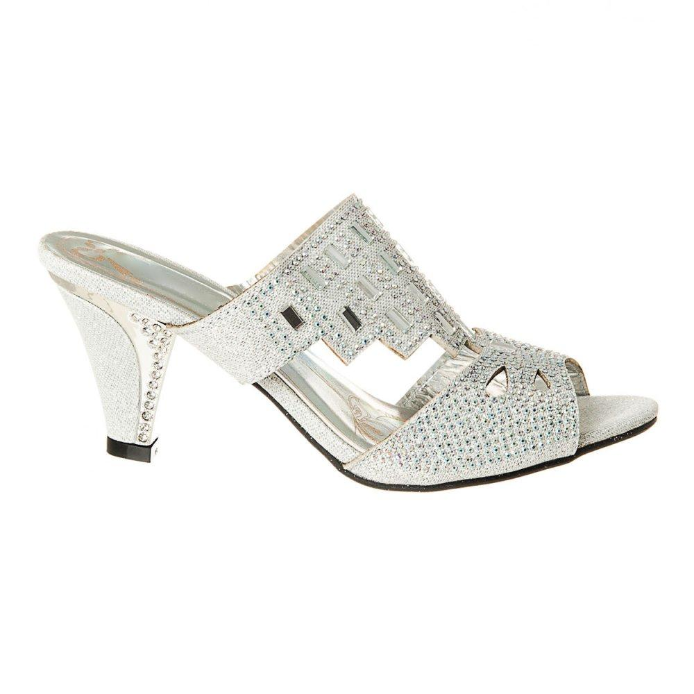 Medium Cone Heel Open Toe Diamante And Jewelled Mule Sandals