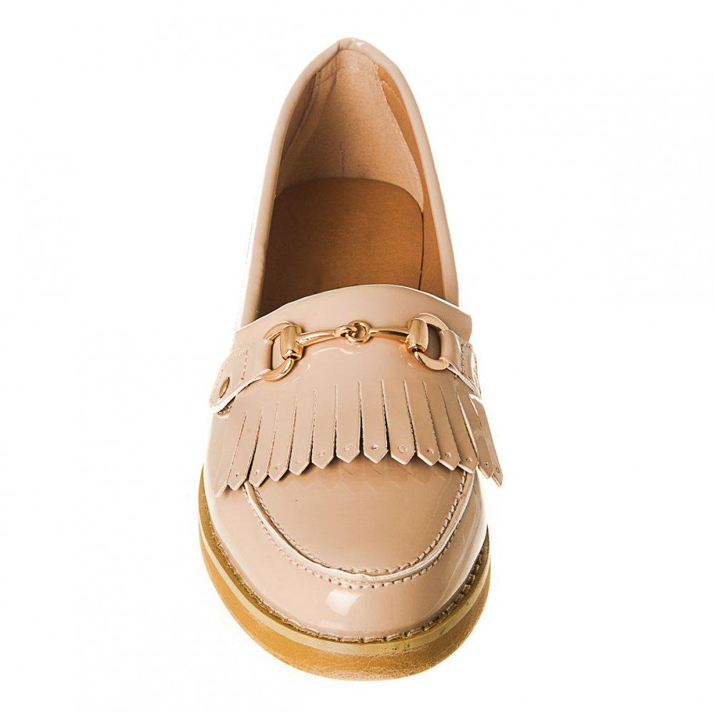 Diana Low Stacked Heel Fringed Gold Bar Loafer