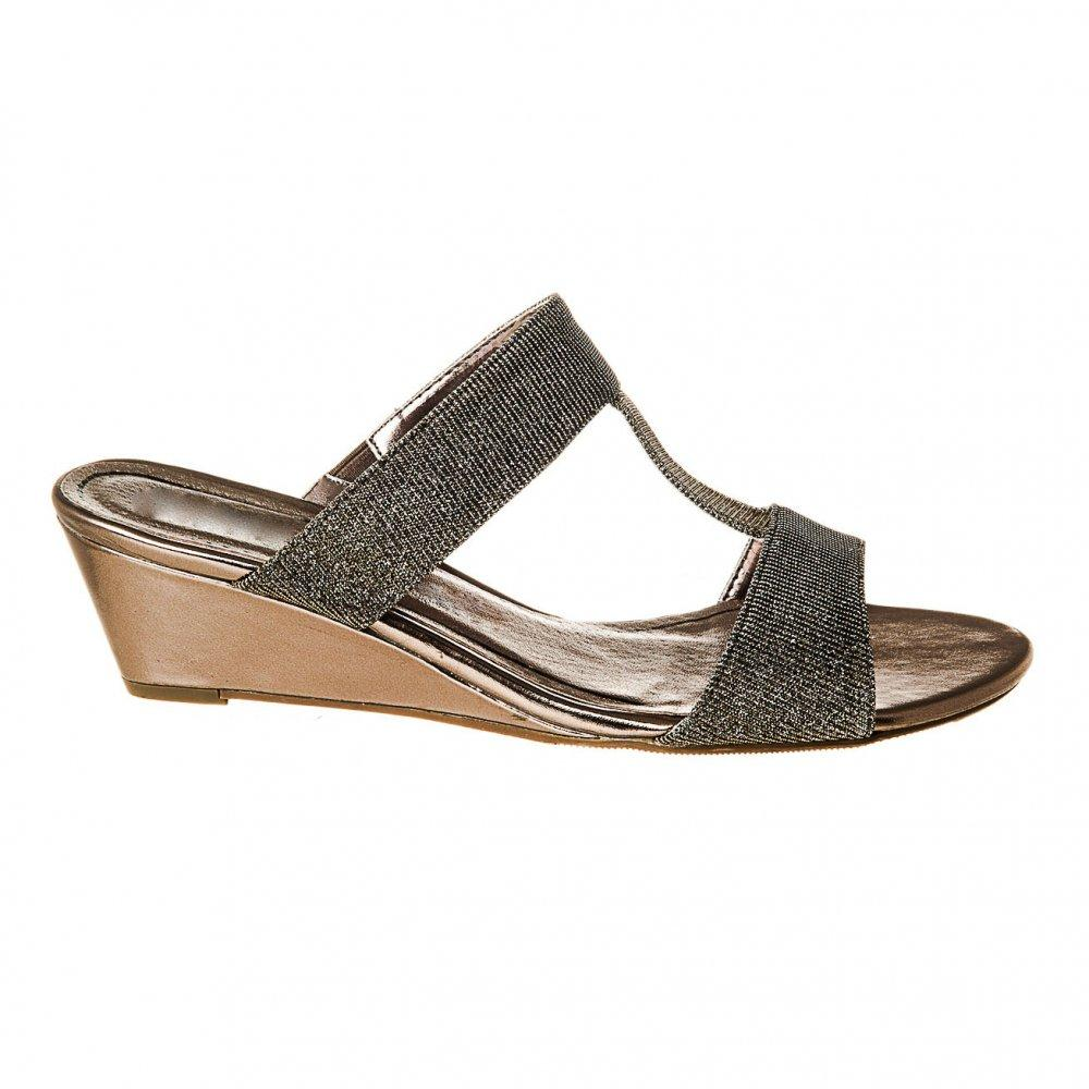 Low Wedge Heel Slip On Mule Sandal With Leather Insole