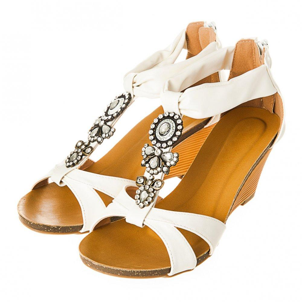 Low Wedge Open Toe Ankle Strap With Jewelled Detailing