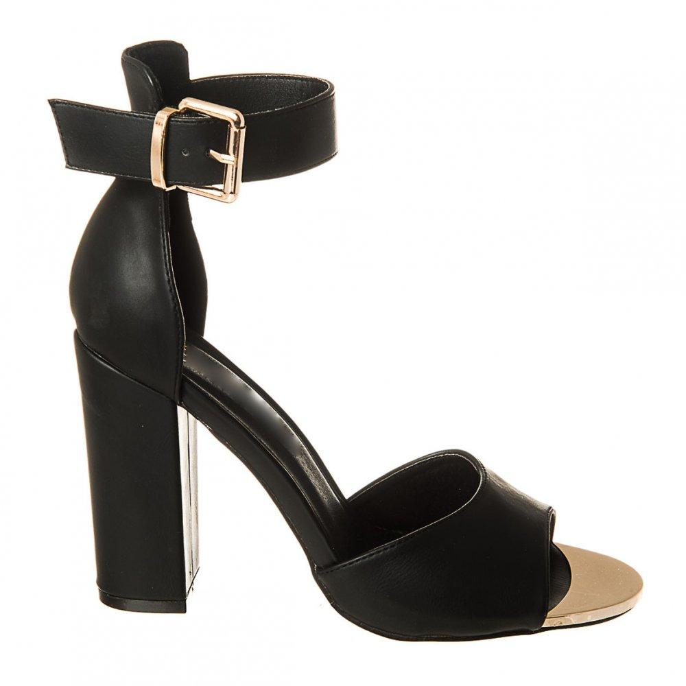 Gold Open Toe Shoe with Medium Block Heel and Ankle Strap