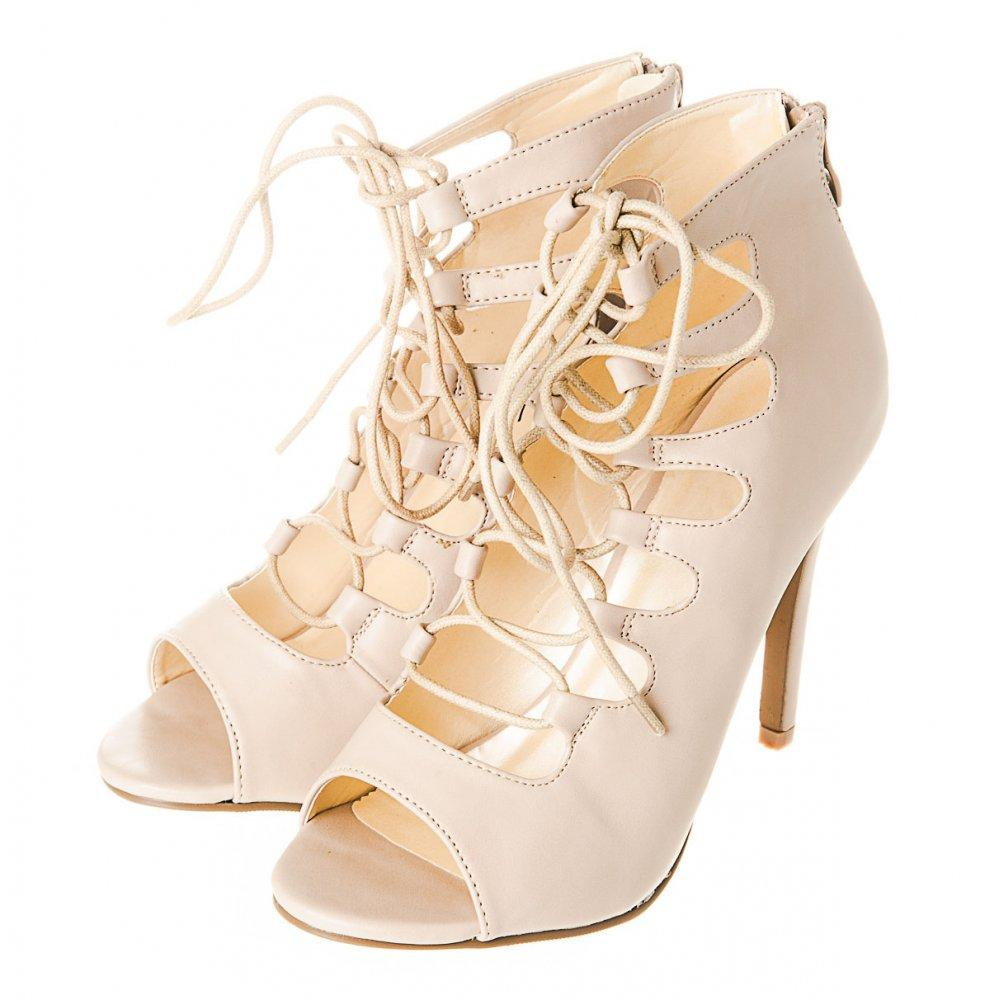 Lace Up High Heels with an Open Toe and Back Zip