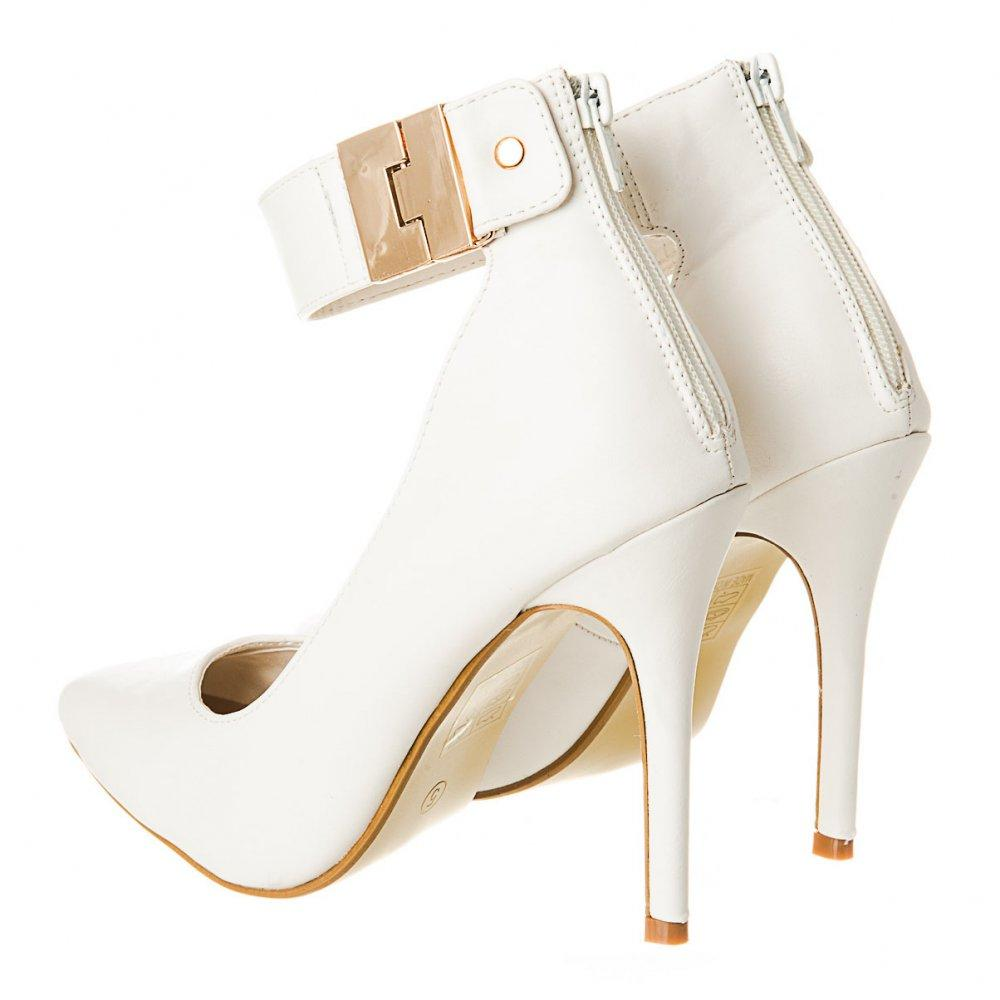 Stiletto Style High Heel Court Shoe with Ankle Strap