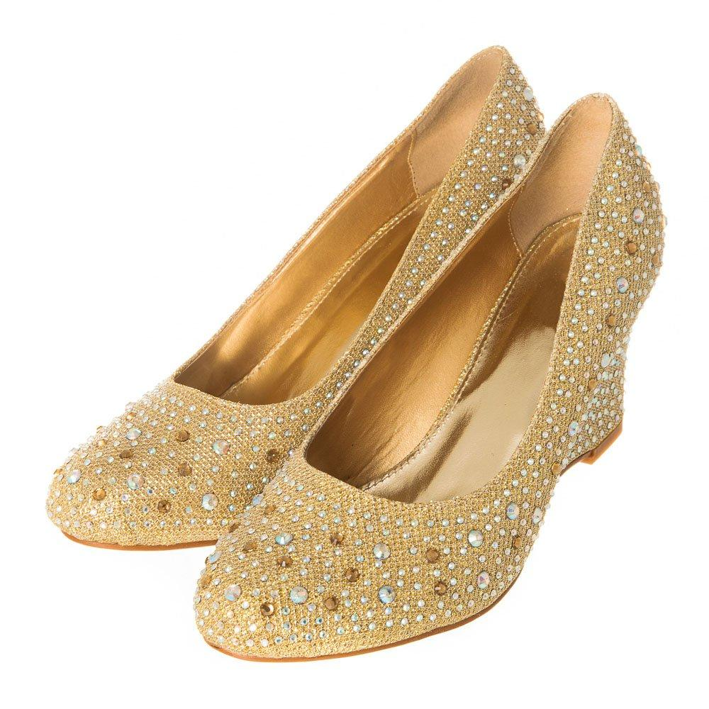 Soft Curved Medium Wedge Court Shoe with Diamantes