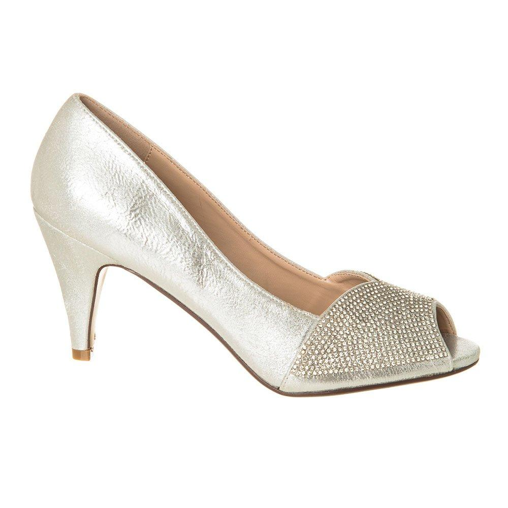 Medium Heel Open Toe Diamante Shoe