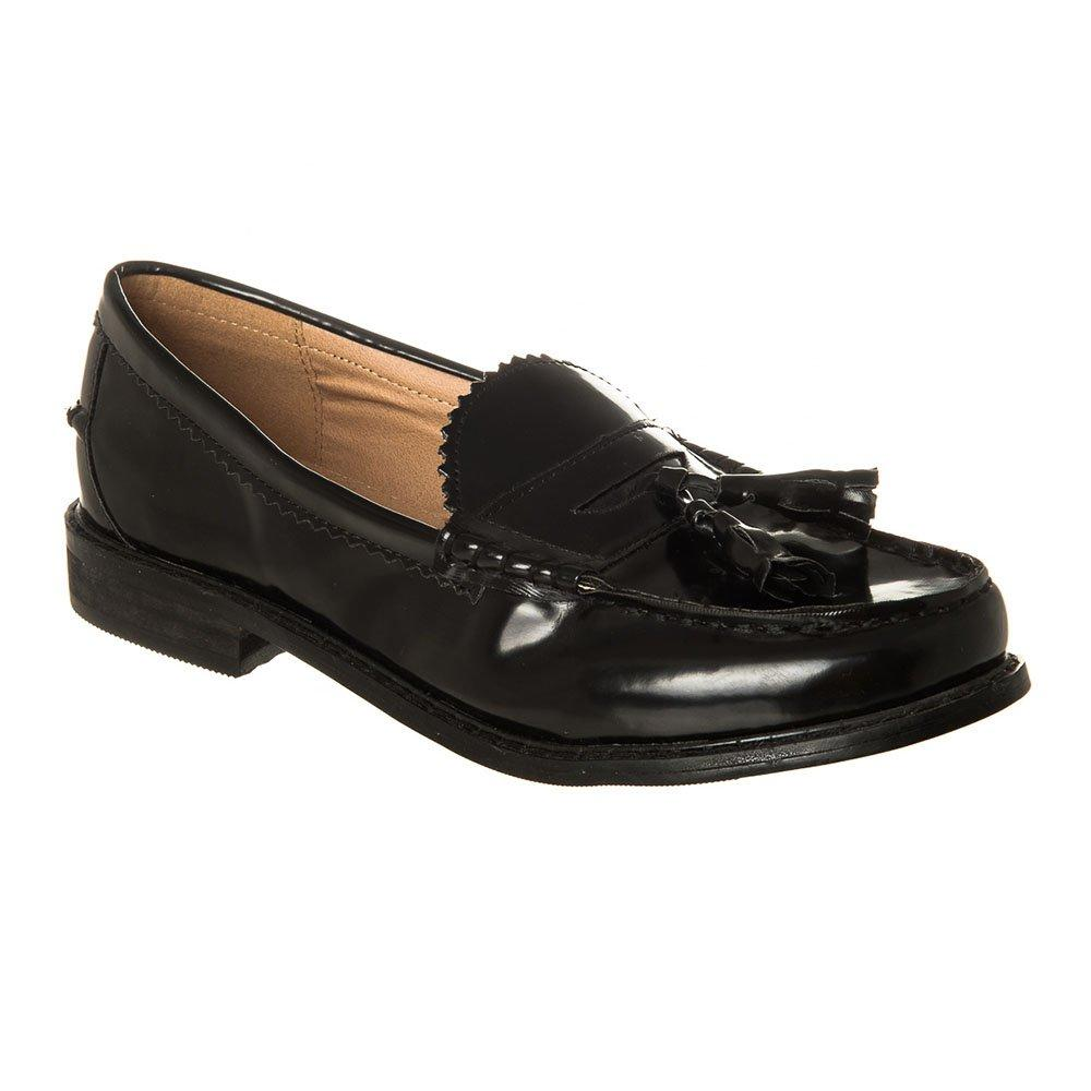 Flat Round Toe Toggle Loafer with Block Heel