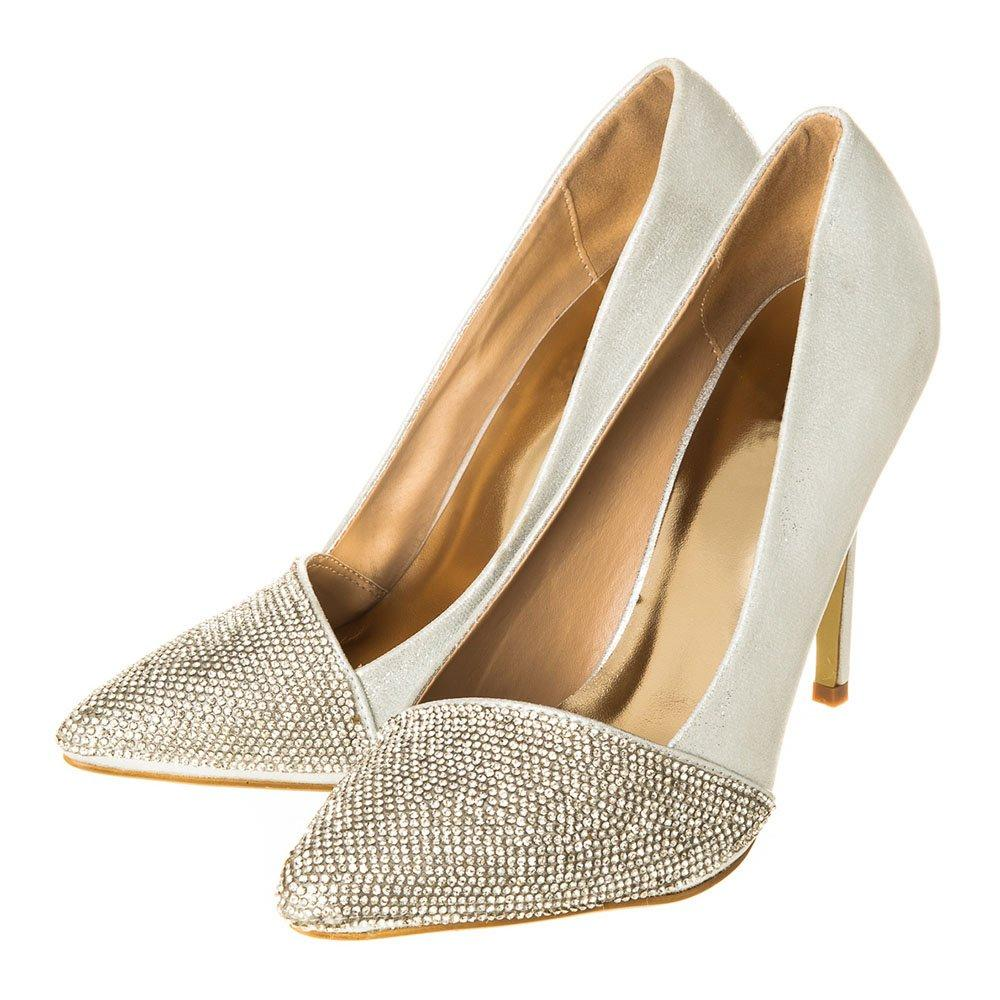 High Heel Shimmer Fabric Diamante Court Shoe