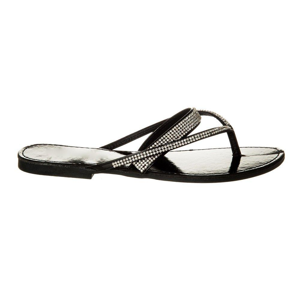 Flat Mule Sandal With Diamante Straps And Toe Post