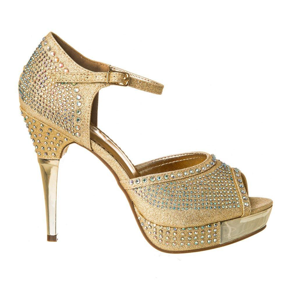 High Heel Platform Diamanté Shoe With Open Toe And Ankle Strap