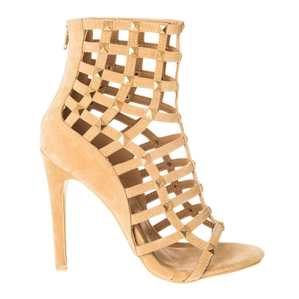 High Heel Open Toe Shoe With Cut Out Design And Stud Detailing