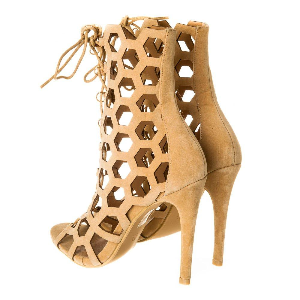 High Heel Lace up Ghillie Shoe Open Toe With Honeycomb Cut Out