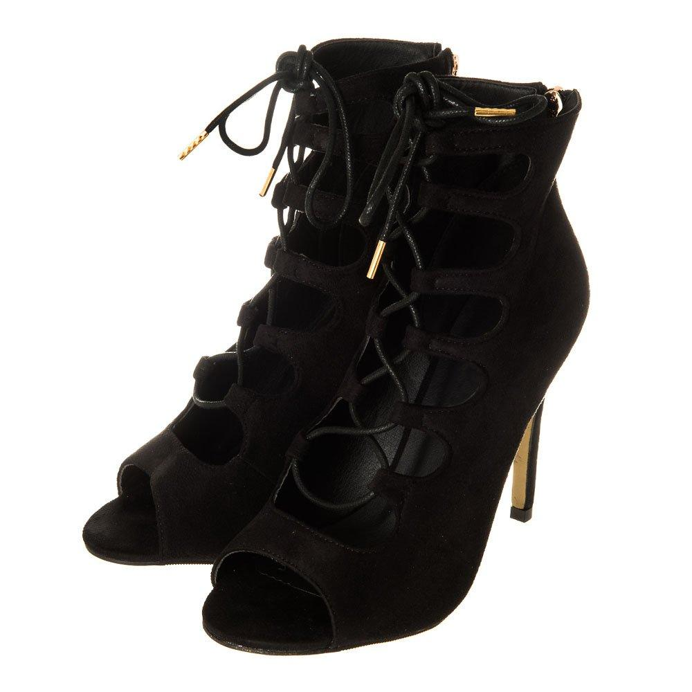 Lace Up Open Toe Back Zip Fastening Shoe Boot
