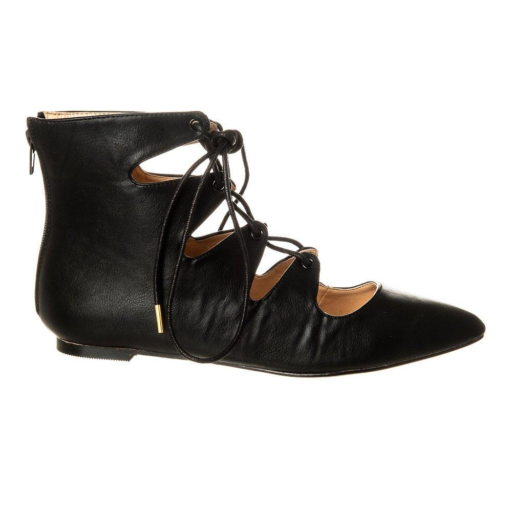 Flat Pointed Toe Lace up Ghillie Shoe With Back Zip