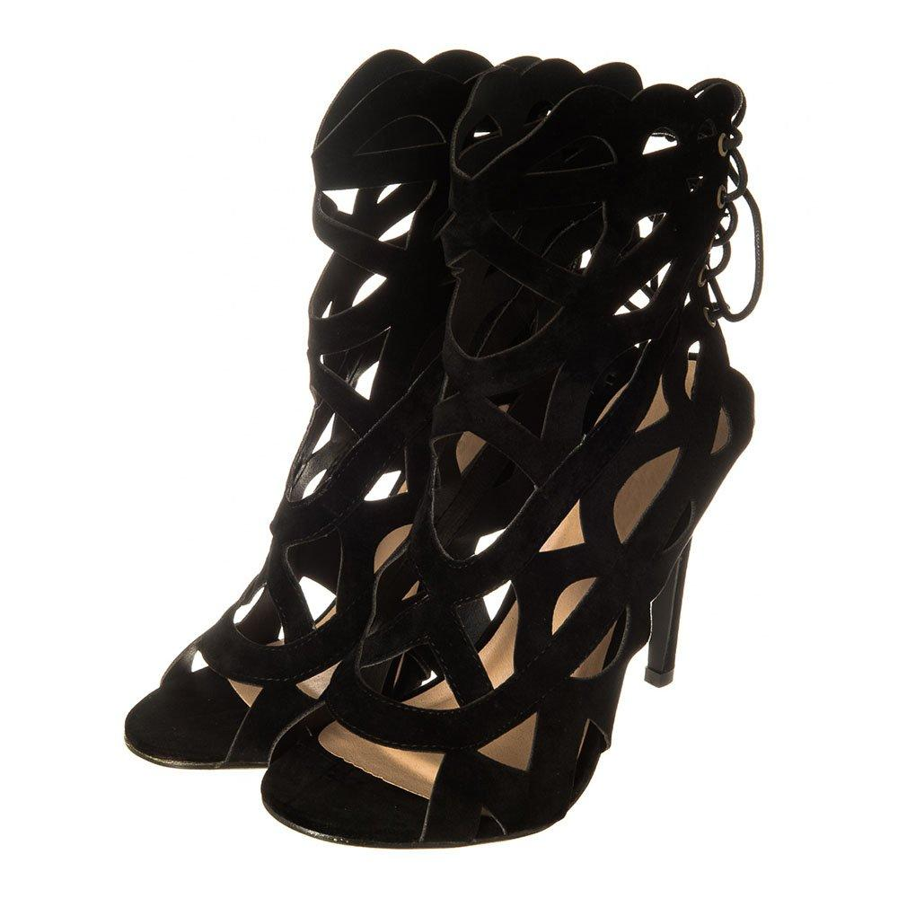 Lace Up Back Scallop Top High Heel Open Toe Shoe