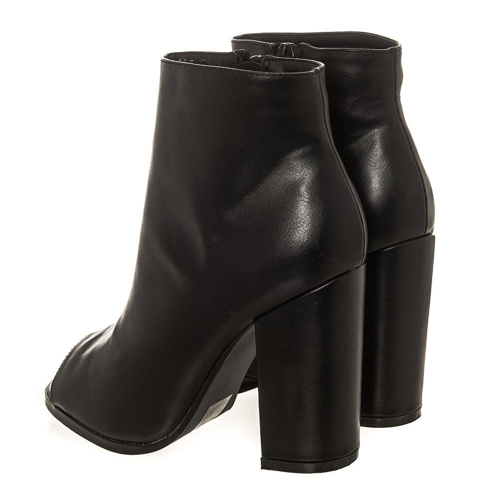 Medium Block Heel Open Toe Ankle Boot
