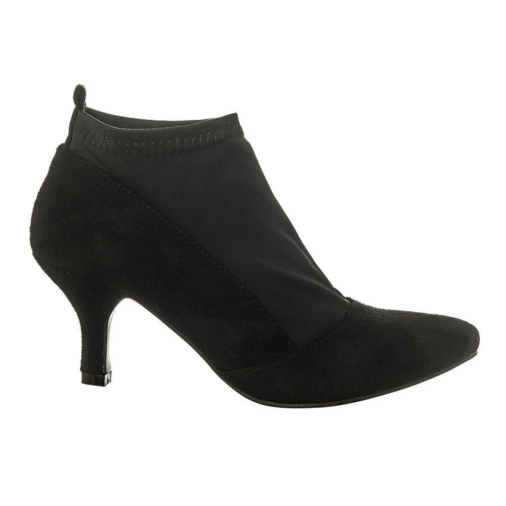 Medium Kitten Heel Pointed Toe Ankle Boot With Stretch Panel