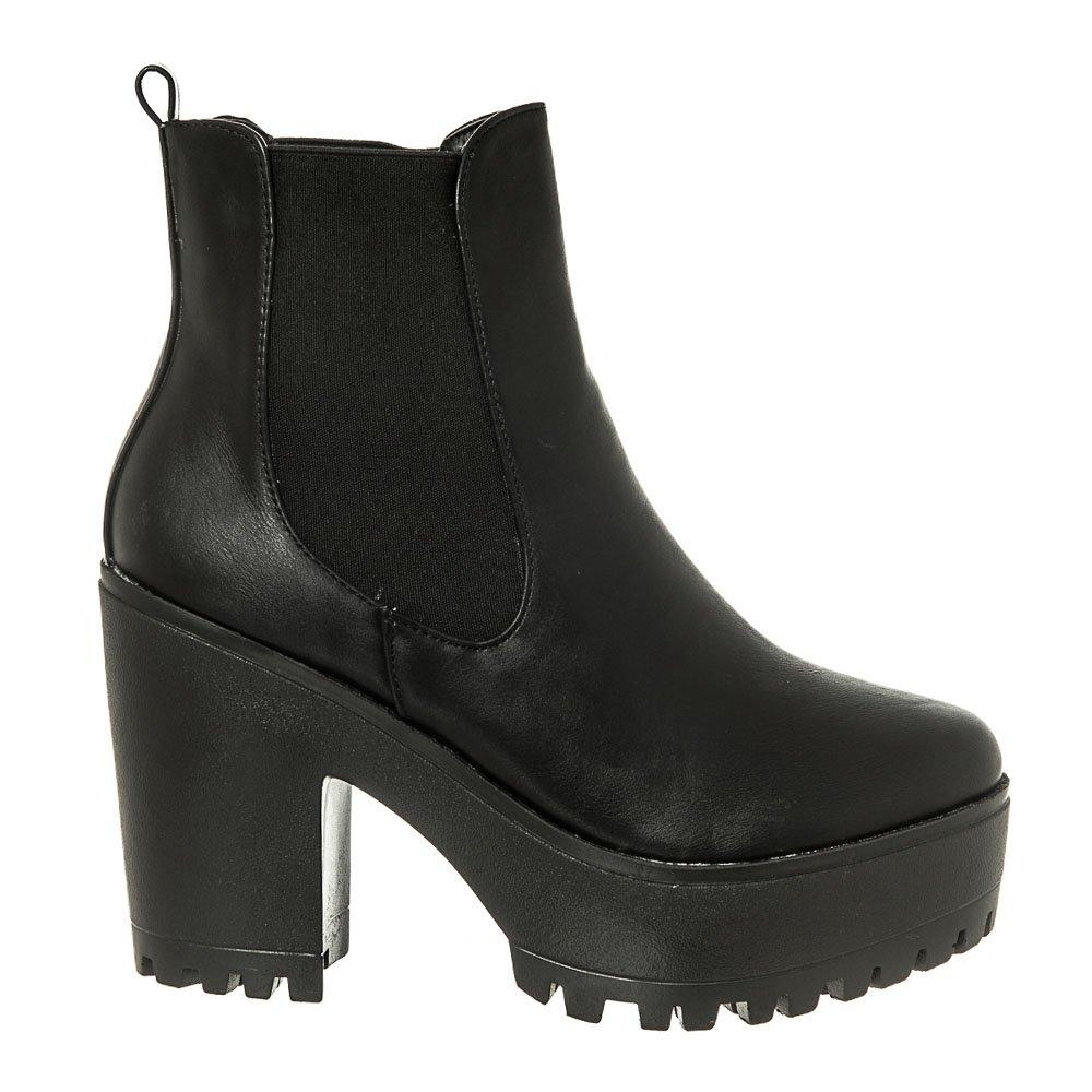 Medium Chunky Cleated Heel And Platform Elastic Gusset Chelsea Boot