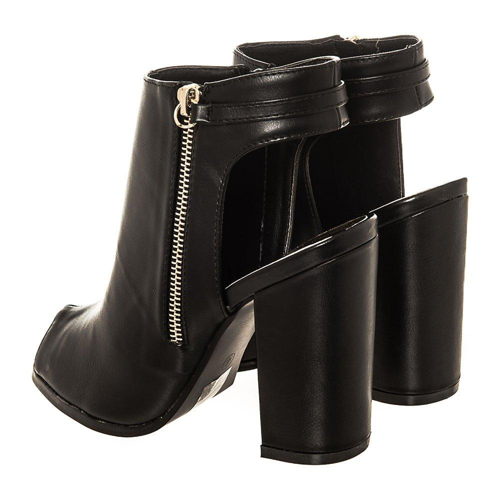 Open Toe Shoe Boot With Cut Out Back And Gold Trim Decorative Zip