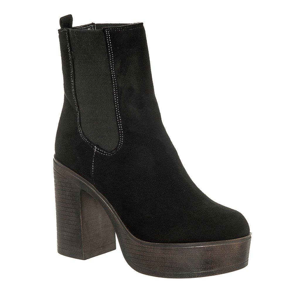 High Block Heel Platform Chelsea Boot With Elastic Side Gusset