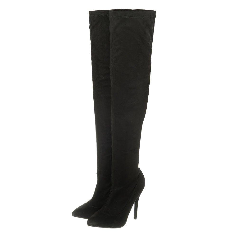 High Heel Pointed Toe Over Knee Boot With Side Zip