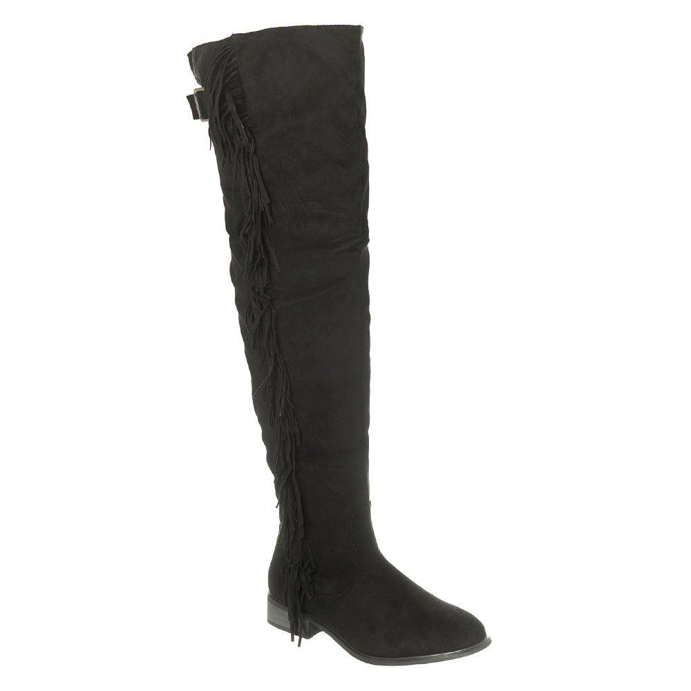 Low Stacked Heel Over Knee Boot With Fringe Trim and Warm Lining