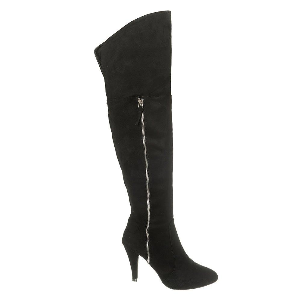 Over-Knee Pointed Toe Medium Stiletto Heel Boot