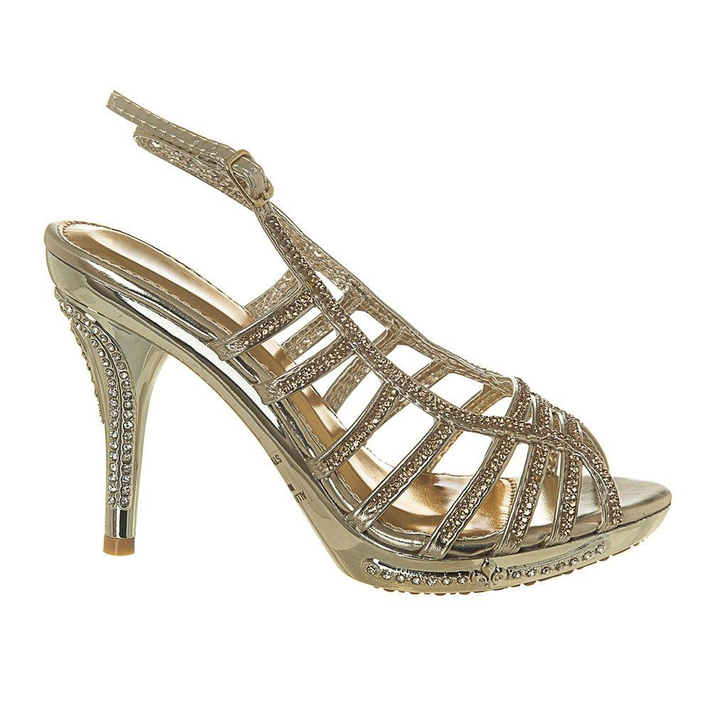 High Heel Strappt Diamante Platforn Open Toe Sandal