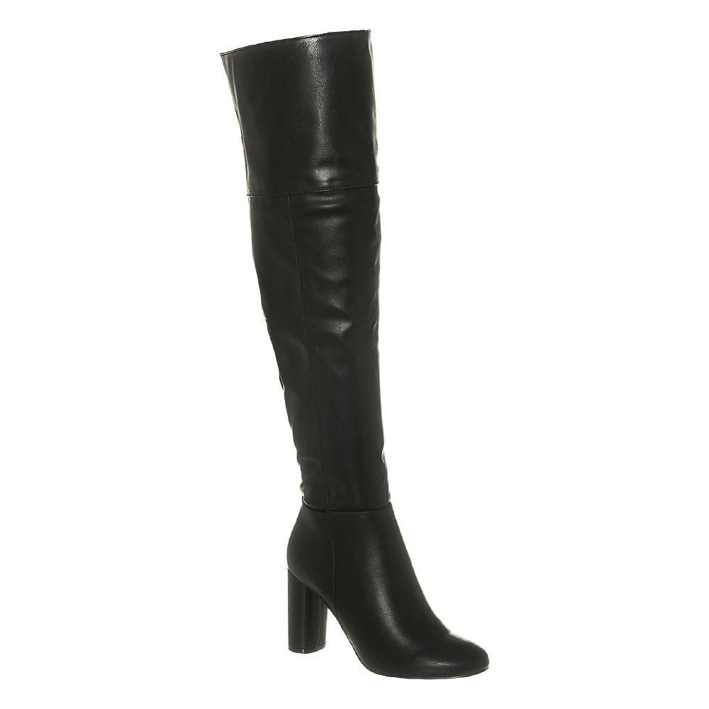 High Block Heel Over Knee Boot With Soft Curved Toe And Inside Zip