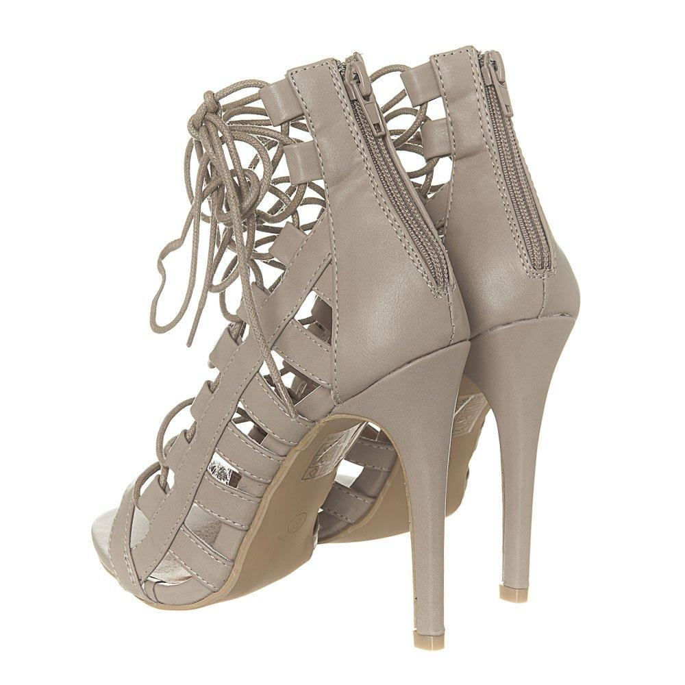 High Heel Lace up Open Toe Ghillie Shoe With Back Zip