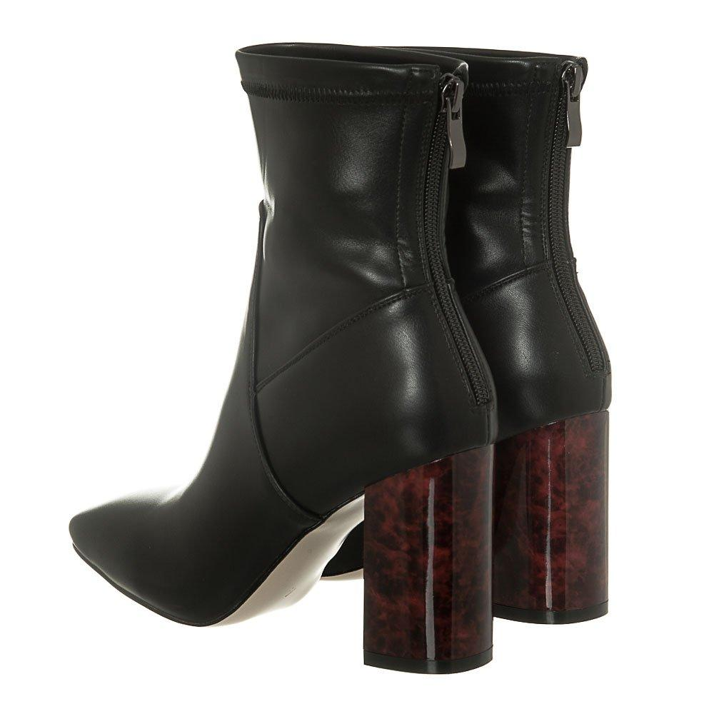 Tortoiseshell Coloured Block Heel Lycra Ankle Boot With Back Zip