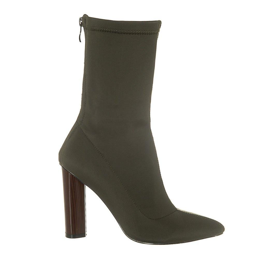 High Round Block Heel Pointed Toe Lycra Ankle Boot