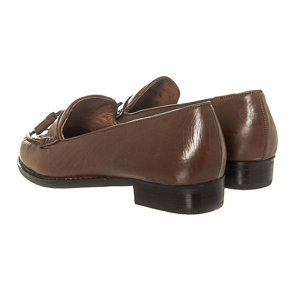 Flat Stacked Heel Leather Toggled Loafer
