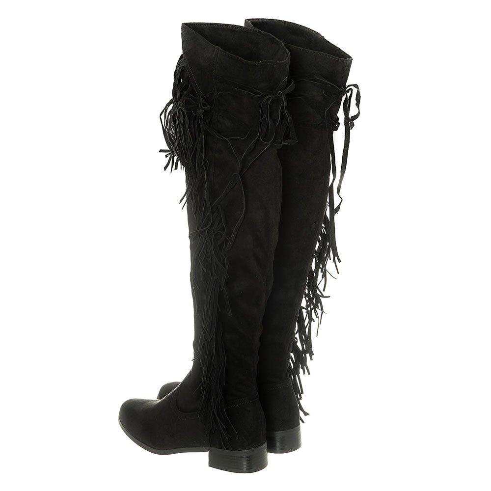Low Stacked Heel Soft Curved Toe Fringed Trim Over-Knee Boot