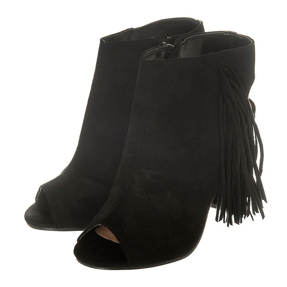 Medium Block Heel Open Toe Open Back Fringe Shoe Boot With Side Zip