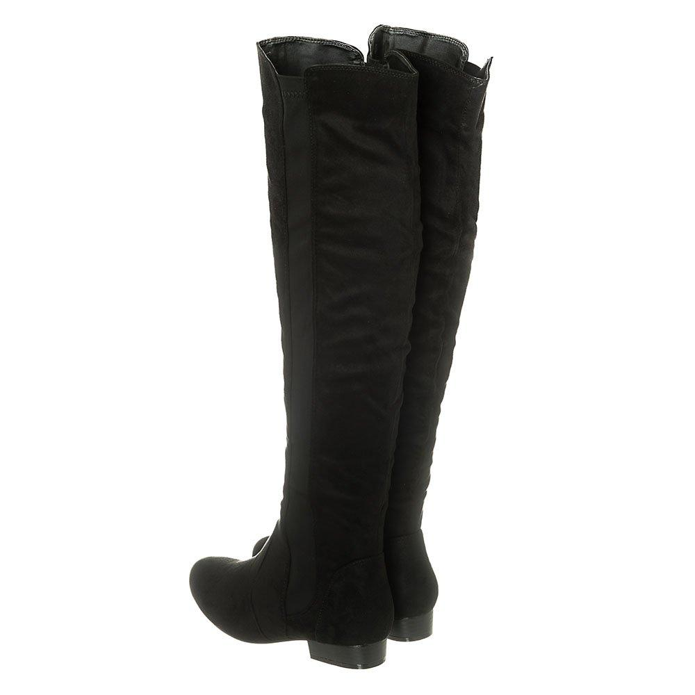 Flat Block Heel Over-Knee Pull On Boot