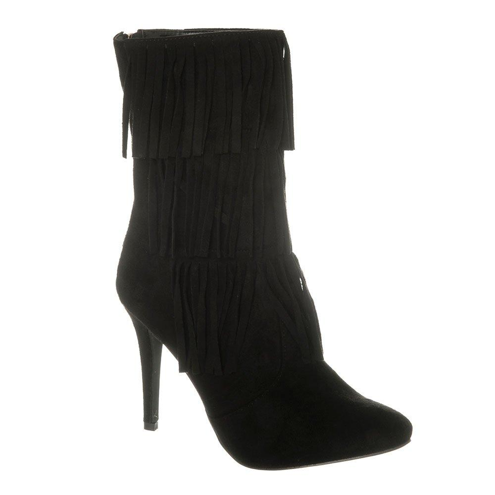 Medium Stiletto Heel Pointed Toe Calf Length Tassel Trim Boot