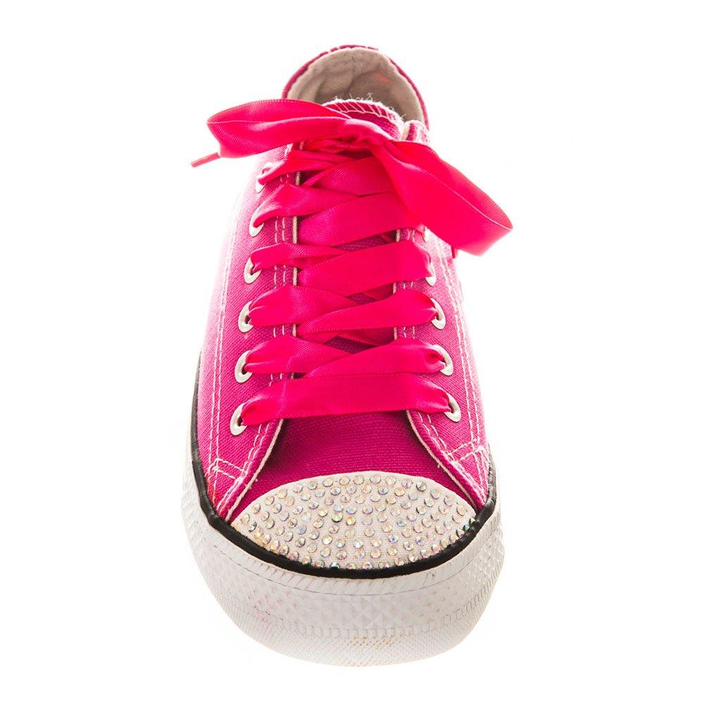 Flat Diamante Canvas Pump With Ribbon Laces