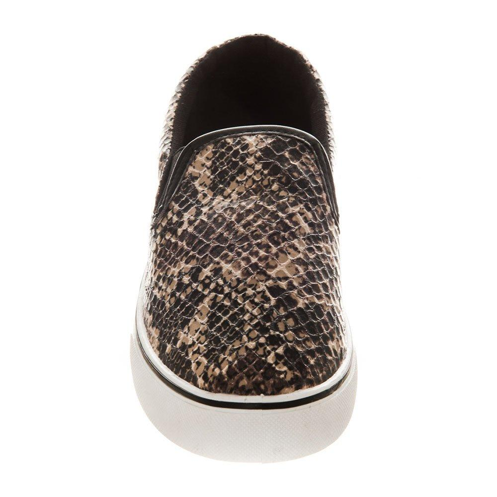 Flat Two Tone Snake Print Skater Shoes Rubber Soles